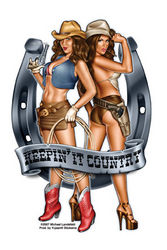 Aufkleber Cowgirl Duo